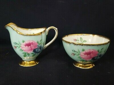 Fabulous Clare China Pink And Blue Cabbage Rose Milk & Sugar With Gold Edging • 19.99£