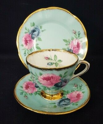 Fabulous Clare China Pink And Blue Cabbage Rose Trio With Gold Edgings #2 • 35£