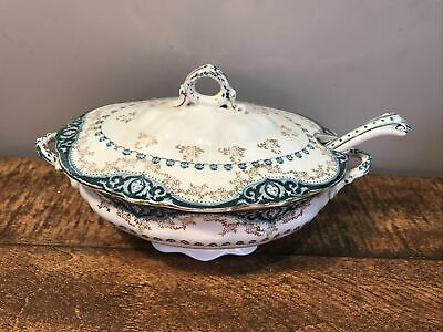 Antique Alfred Meakin Raleigh B Small Ceramic Tureen & Ladle/ Spoon • 7£