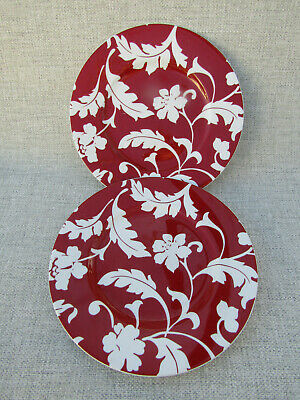 Marks And Spencer M & S St Michael Red Damask Breakfast / Salad Plates X 2 • 9.98£