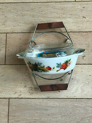 Vintage Pyrex 1970s Tuscany Oval Casserole With Lid, Stand Original Box, Unused. • 10£
