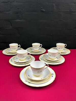 24 Pieces Of Shelly Art Deco Yellow Cups Saucers Side And Salad Plates Set RARE • 99.99£