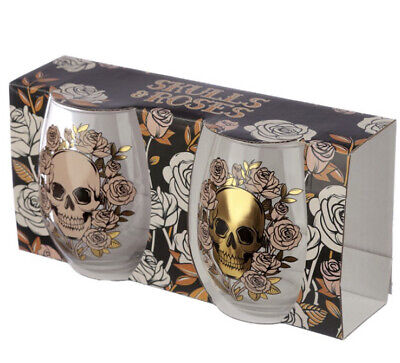 Pagan/Wiccan Skull And Roses Set Of 2 Glass Tumblers  • 10.50£