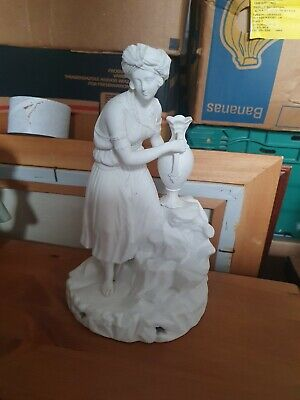 Antique Victorian Parian Bisque Ware Figurine Lady Girl Holding Jug Beautiful  • 24.85£