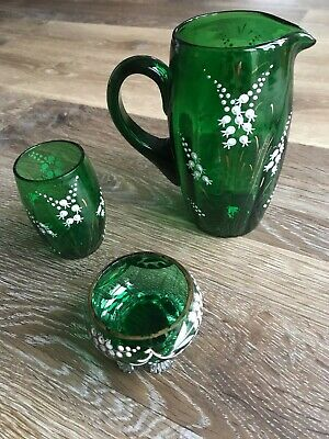 Vintage Patterned Green Glass Jug With Matching Tumbler And Bowl • 12.50£