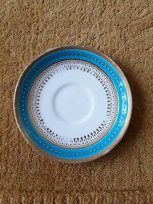 Antique Mintons Turquoise Enamel And Gold Jewelled Saucer  • 10£