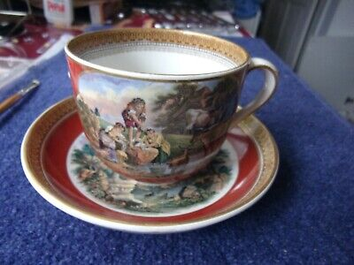 Prattware Pot Lid Style Huge Breakfast Cup & Saucer Original Issue Red A1 A1 A1 • 18£