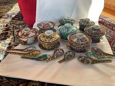 8 Japanese Chinese Vintage Porcelain Hand Painted Bowl Sets • 29£