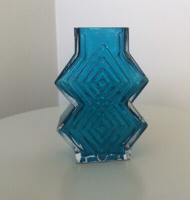 Whitefriars Glass Double Diamond Vase In Blue By Geoffrey Baxter #9759 1970' • 27.30£