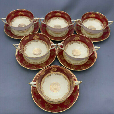 Paragon England Set Of 6 X Maroon & Gold Design Handled Soup Cups And Stands. • 49.99£