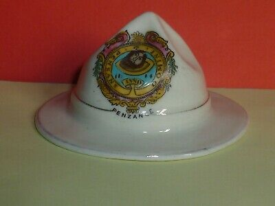 Savoy Crested China Model Of WW1 New Zealand Hat. Crest Of Penzance • 12.50£