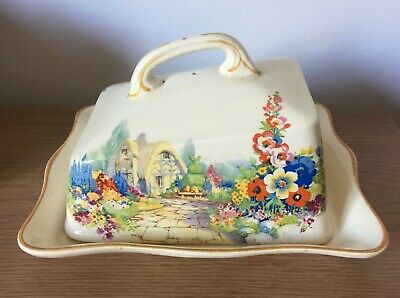 Vintage~ (hampton) Ivory England~cottage Garden~  Butter / Cheese Dish With Lid • 7.50£