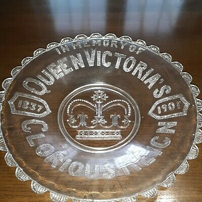 'Queen Victoria's Glorious Reign' Glass Plate/dish Very Nice Condition • 0.99£