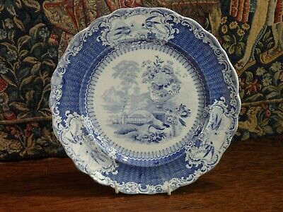 An Antique Staffordshire * W & C * Blue & White * Pheasants * Pottery Plate...2 • 38£