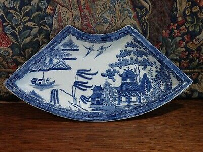 An Antique Staffordshire * Blue & White * Pottery   Shaving Bowl   Type Dish • 18£