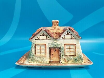 Vintage KEELE STREET Pottery Hand-painted Butter/Cheese Dish Cottage Ware • 2.99£