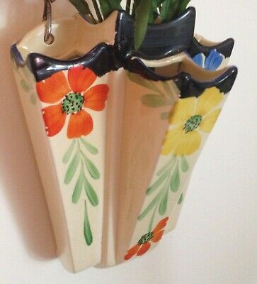 Collectable Vintage 1950's Arthur Wood Art Deco Style Floral Wall Pocket Vase • 25£