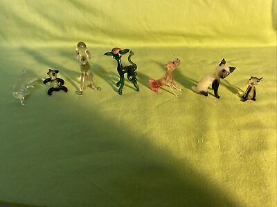 Collection Of Miniature Glass Animals Cats Dogs Dolphin Panda Etc A/F #178 • 2.99£
