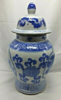 Chinese Ginger Jar With Lid Blue And White 28cm Oriental  • 25£