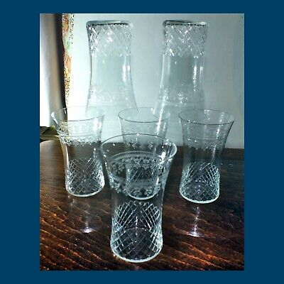 Set Of 4 Cut & Engraved Glass (+2)  PALL MALL TUMBLERS Early 20th C  • 15£