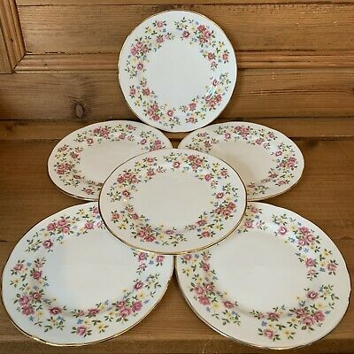 Queen Anne Vintage 70s Fine Bone China Side Plates Set 6 Floral Country Bouquet • 17.99£