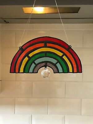 Stained Glass Rainbow Hanging Crystal Prism Ball Window Decoration Suncatcher • 30£