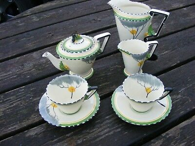 Burleigh Ware Art Deco Zenith Tea For Two Set And Large Jug Dawn Pattern  • 150£