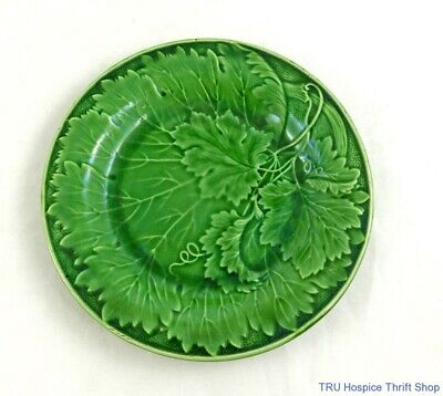 Set Of Four Vintage Green Majolica Grape Leaves On The Vine Salad Plates • 85.87£