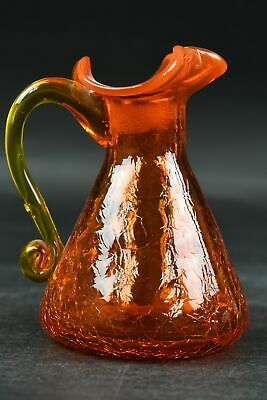 Vintage Orange Crackle Glass Ruffled Trim Pitcher W/Yellow Handle Collectible • 7.23£