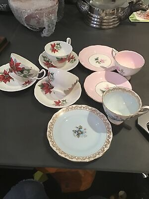 5 Vintage Cups And Saucer Royal Standard Flowers And 3 Poinsettia Christmas Rose • 9.99£