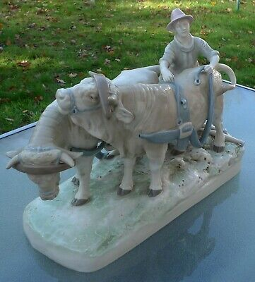 Royal Dux Porcelain Group Of A Plough Boy And Two Harnessed Oxon Early Mark 2185 • 249.99£
