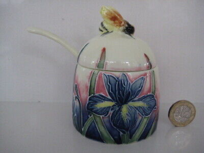 Old Tupton Ware Honey Bee Jam Preserve Pot Jar Spoon Iris Tube Lined Decoration • 22.99£