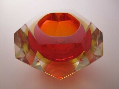 Murano Sommerso Faceted Geode Bowl In Red, Amber & Clear. Ref 442 • 49.95£