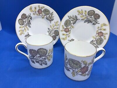 A Pair Vintage Wedgwood ( Lichfield Pattern ) Coffee Cups / Cans & Saucers • 4.95£