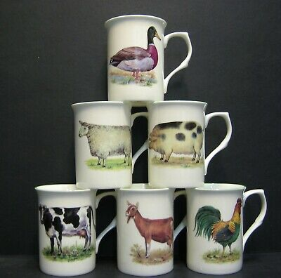 A SET OF 6 SIMPLE ANIMALS COW SHEEP DUCK GOAT Fine Bone China Mugs Cups Beakers • 22£