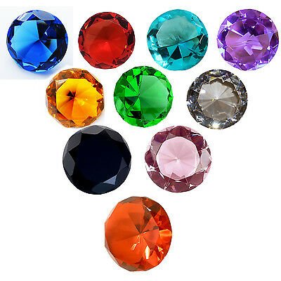 Crystal Diamond Shape Colour Paperweights Glass Gem Gift Home Display Ornament  • 10.99£