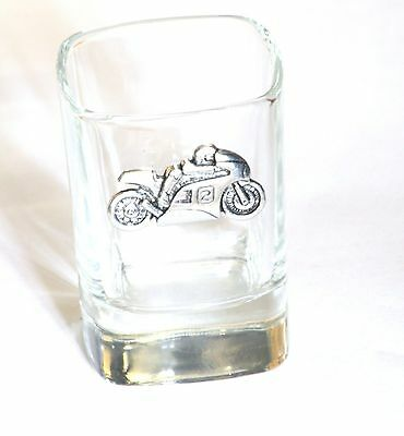 Motorbike #2  Pewter Emblem Crystal Shot Tot Glass Ideal Motorcycling Gift 245 • 49.99£