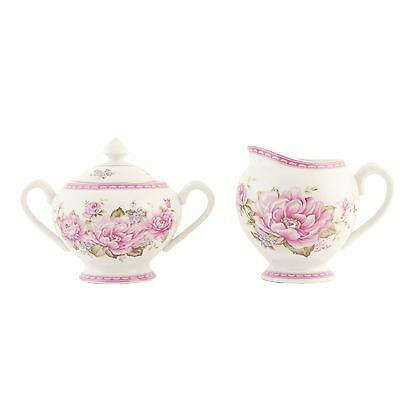 Pink Green Cream Floral Flower Bordered Edge Milk Jug And Sugar Bowl Set  • 26.95£