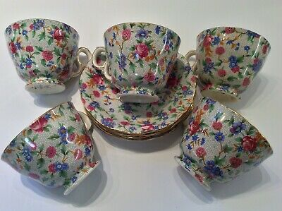 5 Royal Winton England Old Cottage Chintz Cup & Saucer Sets • 79.94£