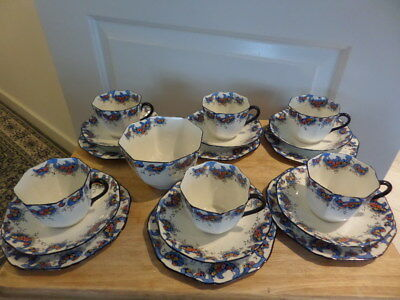 SUTHERLAND CHINA 6 X TEA TRIOS + SLOP BOWL - EARLY 20th CENTURY WHITE With Blue • 40£