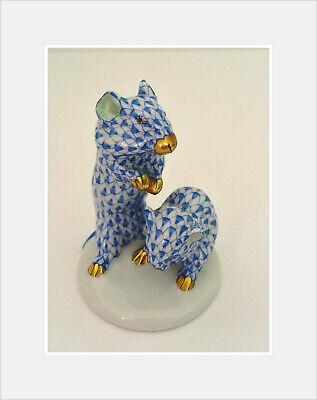 Herend Mice Blue And White Porcelain Hand Painted Fishnet Two Mouses • 149£
