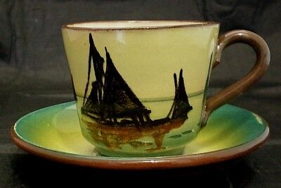 Torquay Moto Ware Cup And Saucer Sailing Ship. • 14£