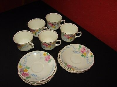 Vintage Foley China 5 Cups & Saucers • 19.95£