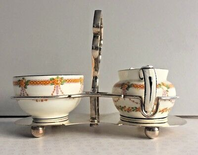 Antique Strawberry Set Salonika Pattern By Crescent On Silver Plated Stand • 29£