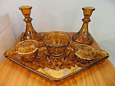 Art Deco Amber Glass  Dressing Table Vanity Set With Candlesticks 6 Pieces • 28.95£