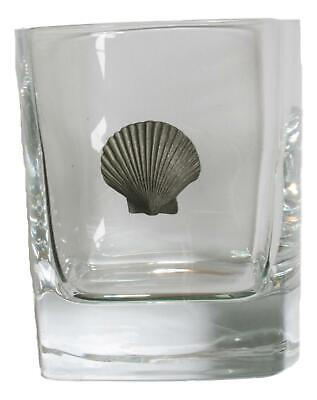 Scallop Pair Of Crystal Tumblers Pewter Motift Presentation Box 423 • 34.99£