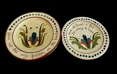 2 X VINTAGE TORQUAY WARE ALLER VALE MOTTO PLATES • 9.50£