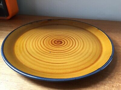 Studio Pottery Spiral Stoneware Large Round Serving Platter  12.5 In • 12£