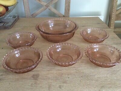 Vintage Pink Glass Trifle Dessert Dish & 5 Bowls Grooved Ridged (S) • 11£