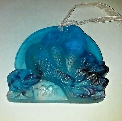Daum Pate De Verre Signed, Two Kissing Doves 1991 Christmas Ornament,  • 60£